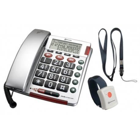 Amplicomms BigTel 50 Alarm - téléphone fixe avec médaillon - senior