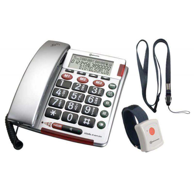 amplicomms bigtel 50 alarm t l phone fixe senior t l phone amplifi. Black Bedroom Furniture Sets. Home Design Ideas